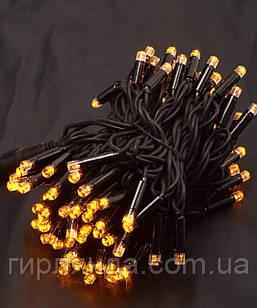 Вулична 100 LED,  10м,  чорний каучук 3,3мм, жовтий