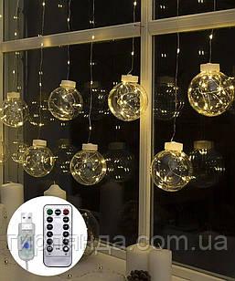 Кульки-роса 10шт, USB+пульт 2,5 м*0,8 м. білий теплий