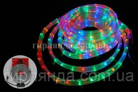 КВАДРАТНИЙ дюралайт 3-жильн  LED 10м мульті