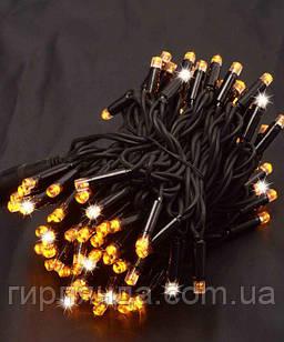 Вулична 100 LED,  10м,  чорний каучук 3,3мм, жовтий+FLASH