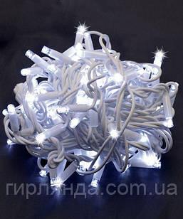 Вулична 100 LED,  10м,  білий каучук 3,3мм, білий+FLASH