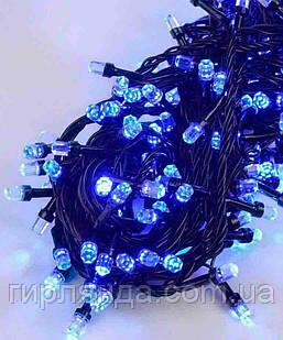 РУБІН 8мм 500 LED, чорний провід 28м, синій