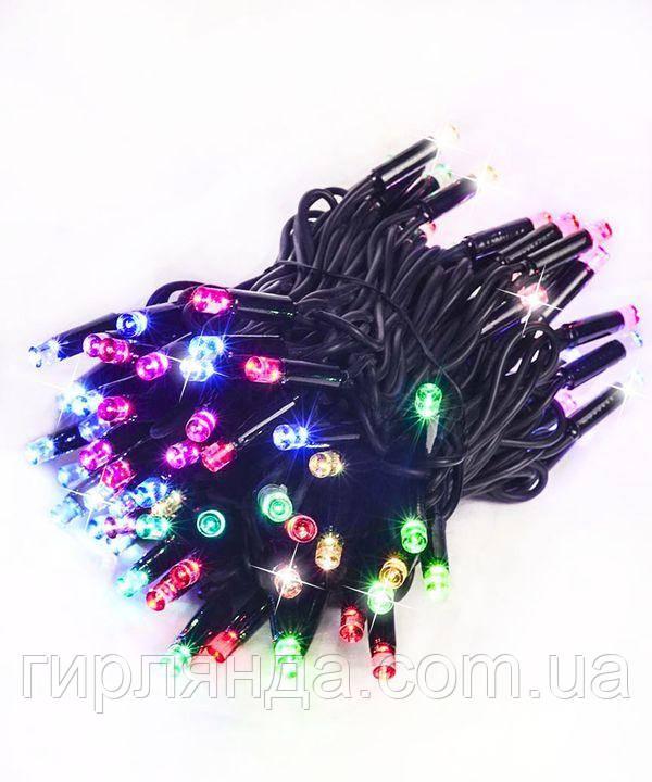 Вулична 100 LED+ FLASH,  10м,  чорний каучук  2мм, мульті
