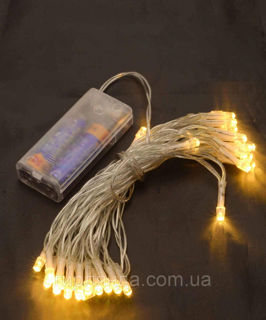 НА БАТАРЕЙКАХ 80 LED, 8м, теплий білий