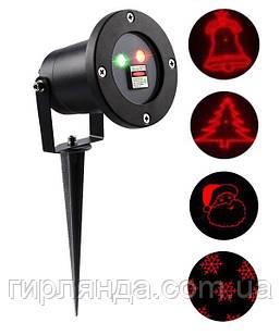 """Вуличний проектор+ пульт, метал. """"4 новорічні фігури 417"""" (червоно - зелений)"""