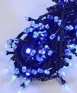 РУБІН 8мм 100 LED, чорний провід 7м, синій
