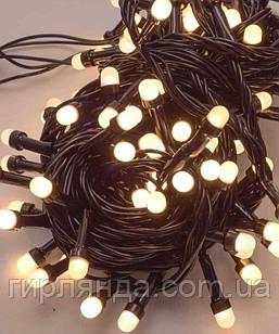 Лінза 8мм 200 LED, чорний провід 13м, білий теплий