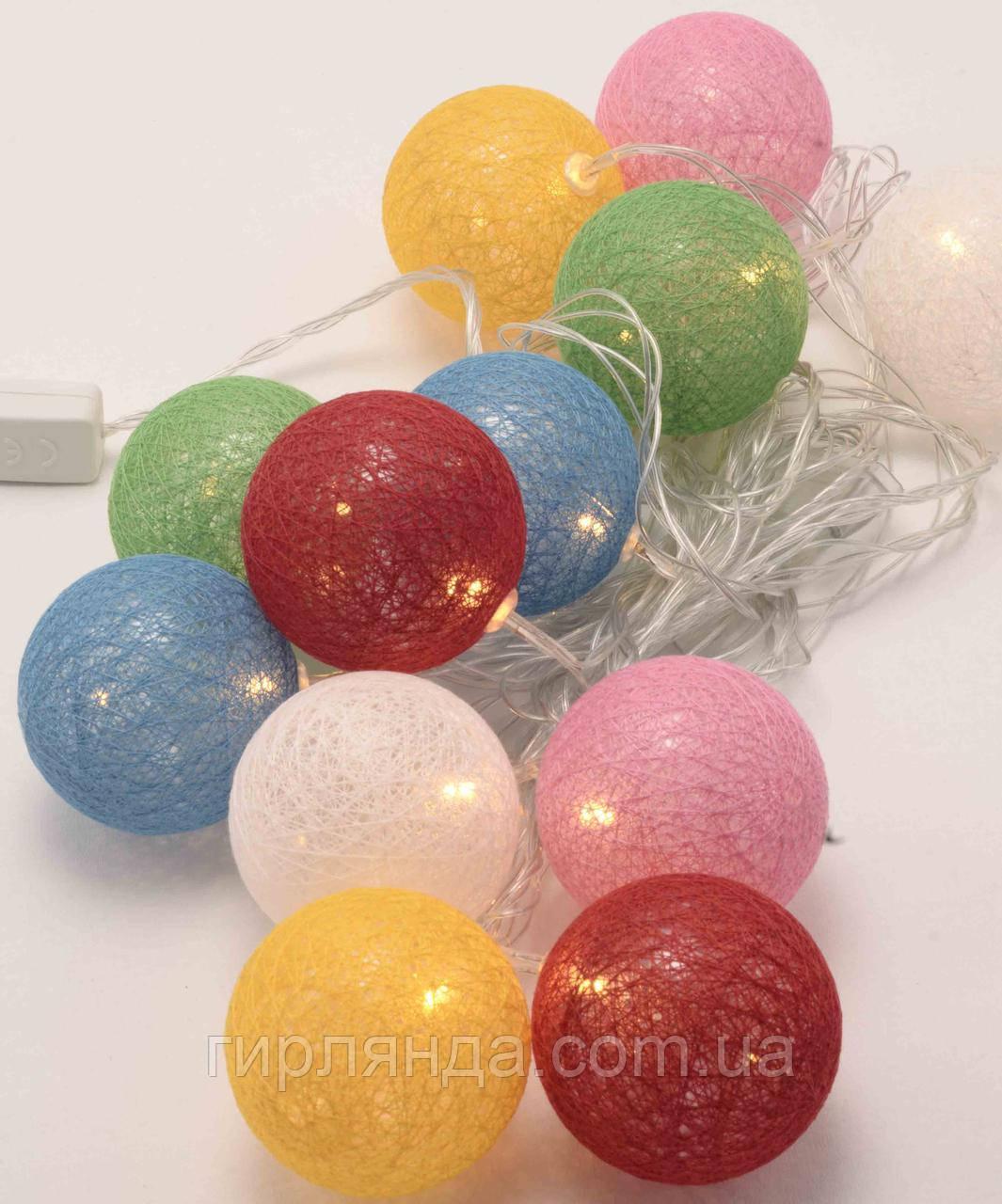 Кульки з ниток 60мм 10 LED 2м+ перехідник, теплий білий