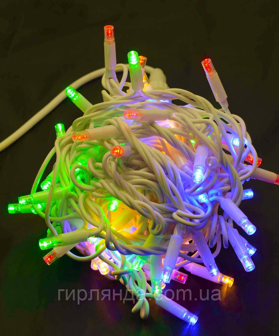 Вулична 100 LED,  10м,  білий каучук 3,3мм, кольорова