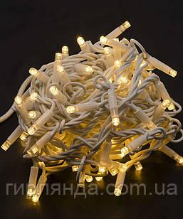 Вулична 100 LED,  10м,  білий каучук 3,3мм, білий теплий