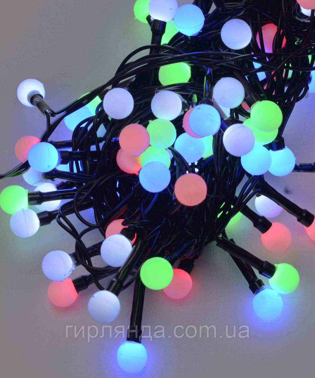 Кульки 10мм  200 LED  чорний провід 10м мульті