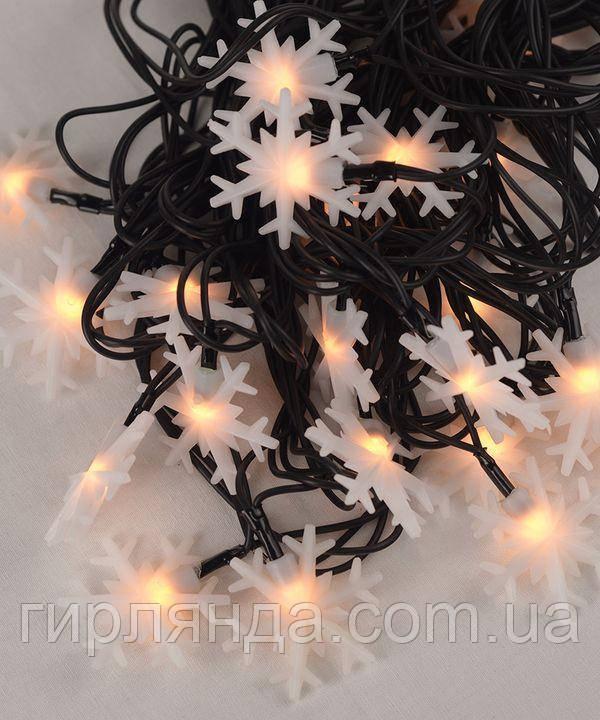 """Вуличні фігурки 40 LED """"СНІЖИНКА"""", 7м+ перехідник, біла тепла"""