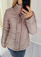 Куртка женская на змейке и кнопках, модель 211/2, цвет бежево - лиловая
