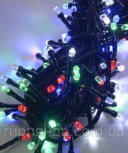РУБІНКА 300 LED, чорний провід,   мульті