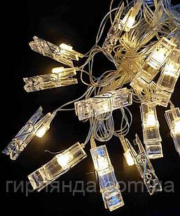"""Фігурки 12 LED, """"ПРИЩІПКИ"""", 5м+ перехідник, теплий білий"""