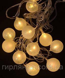"""Фігурки 12 LED, """"КУЛЬКА ПЕРЛАМУТР"""", 5м+ перехідник, теплий білий"""