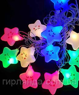 """Фігурки 12 LED, """"ЗІРОЧКА"""", 5м+ перехідник, теплий білий"""