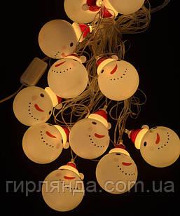 """Фігурки 12 LED, """"СНІГОВИК В ШАПЦІ"""", 5м+ перехідник, теплий білий"""