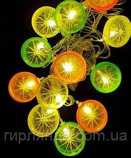 """Фігурки 12 LED, """"ФРУКТИ"""", 5м+ перехідник, теплий білий"""