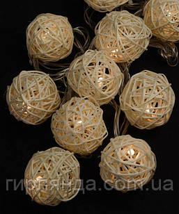 Кульки ротангові білі 12 LED  4м+ перехідник, теплий білий