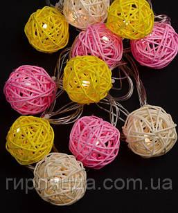 Кульки ротангові кольорові 12 LED  4м+ перехідник, теплий білий