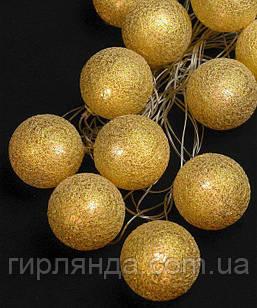 Кульки з ниток 50мм золото 12 LED 4м+ перехідник, теплий білий
