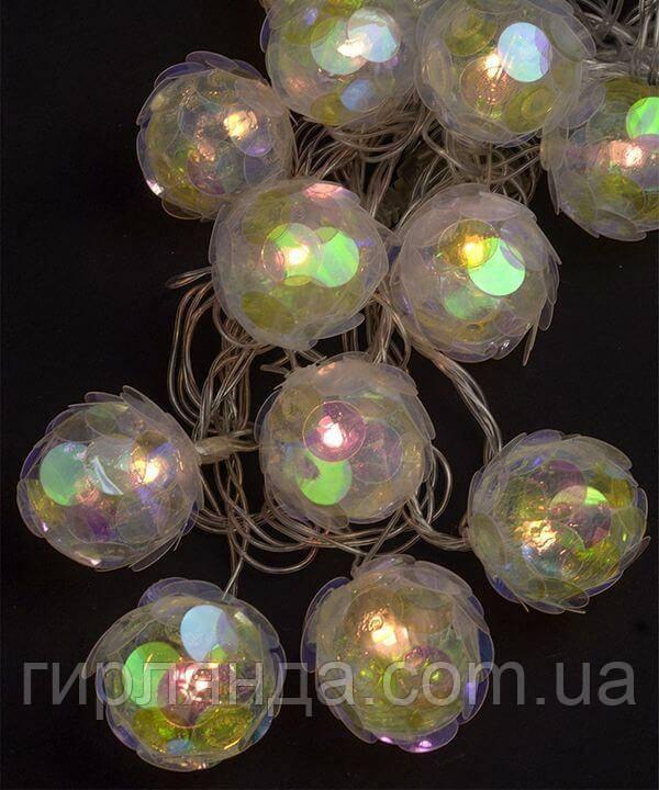 """Фігурки  12 LED, """"КУЛЬКА 50мм З ПАЄТКАМИ """",                  4м,  теплий білий"""