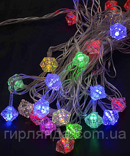 "Фігурки  20 LED, ""ДІАМАНТ"", 5м+ перехідник, мульті"