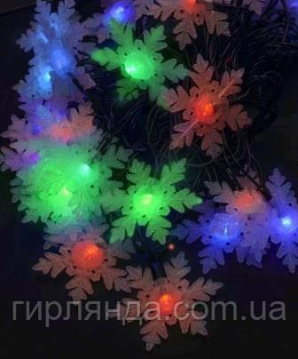 """Фігурки  20 LED, """"СНІЖИНКА ВЕЛИКА"""", 5м+ перехідник,  мульті"""