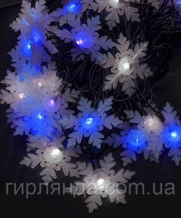 """Фігурки  20 LED, """"СНІЖИНКА ВЕЛИКА"""", 5м+ перехідник, синьо-білий"""