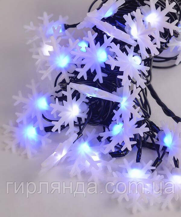 """Вуличні фігурки 40 LED """"СНІЖИНКА"""", 7м+ перехідник, синьо-білий"""