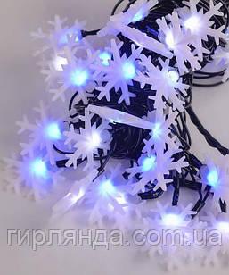 """Вуличні фігурки LED 40 """"СНІЖИНКА"""", 7м+ перехідник, синьо-білий"""