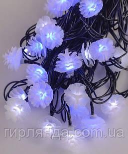 """Вуличні фігурки 40 LED """"ШИШКА"""", 7м+ перехідник, синьо-білий"""