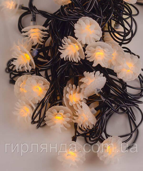 """Вуличні фігурки 40 LED """"ШИШКА"""", 7м+ перехідник, білий теплий"""