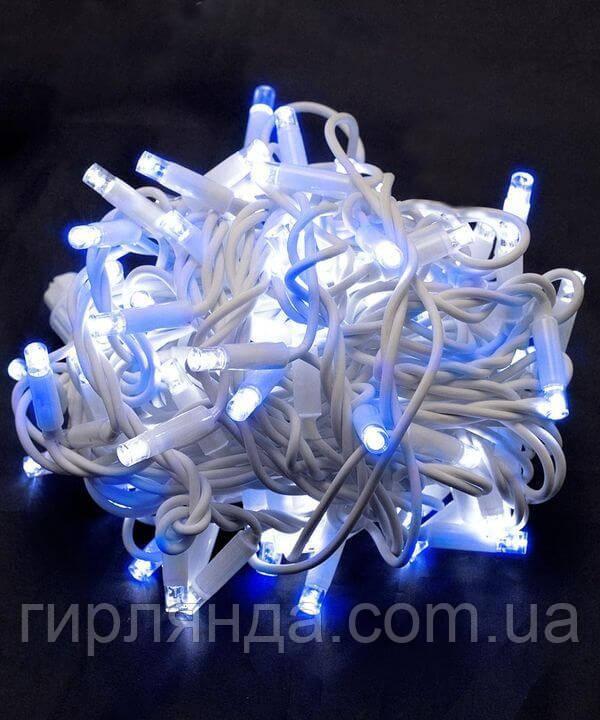 Вулична 100 LED,  10м,  білий каучук 3,3мм,  синьо-білий