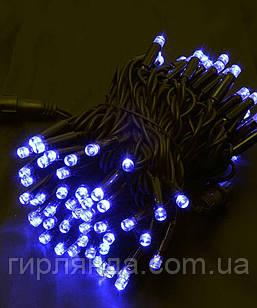 Вулична 100 LED,  10м,  чорний каучук 3,3мм, синій+FLASH