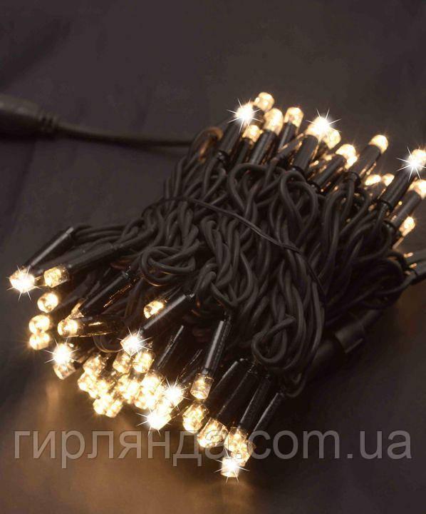 Вулична 100 LED,  10м,  чорний каучук 3,3мм, теплий білий+FLASH