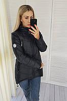 Женская куртка с удлинённой спинкой, арт 300, цвет черный / чёрного цвета