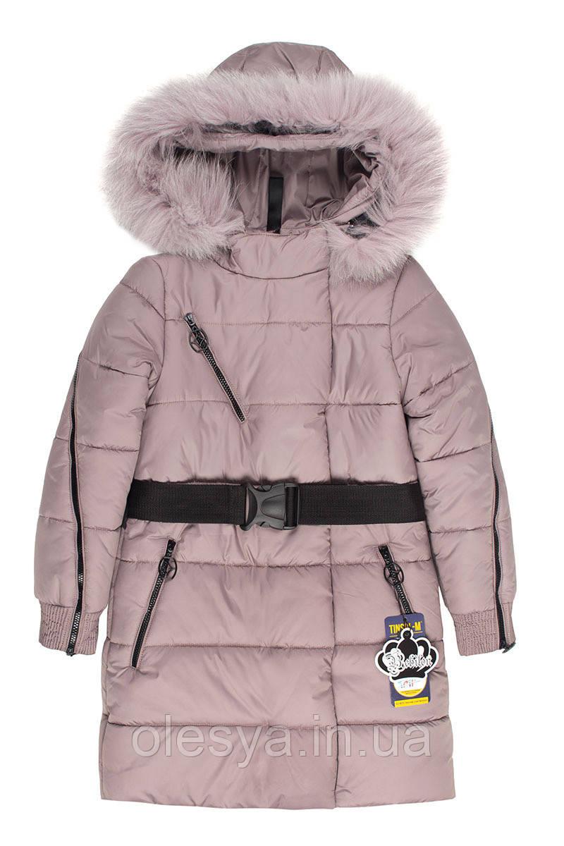 Зимнее подростковое пальто на девочку Бамбина с натуральным мехом Размеры 134- 152