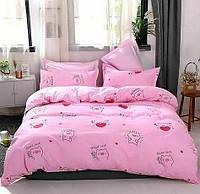 Комплект постельного белья сатин,Евро размер с 4 наволочками,Свинки,Цвет розовый