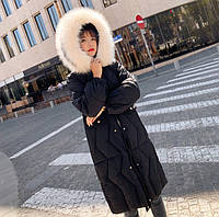 Пуховик женский теплый зимний длинный с капюшоном Катрин