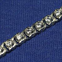 Серебряный браслет с фианитом плетение Бисмарк