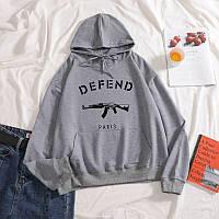 Серое худи Defend Paris Logo, унисекс (мужское, женское, детское)