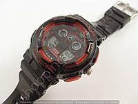 Детские часы Casio Baby G BGA-130 3543 (013511) черные с красными кнопками водонепроницаемые