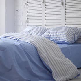 Комплект постельного белья Хлопковые Традиции семейный 200x220 Голубой с белым PF048семейный, КОД: 740587