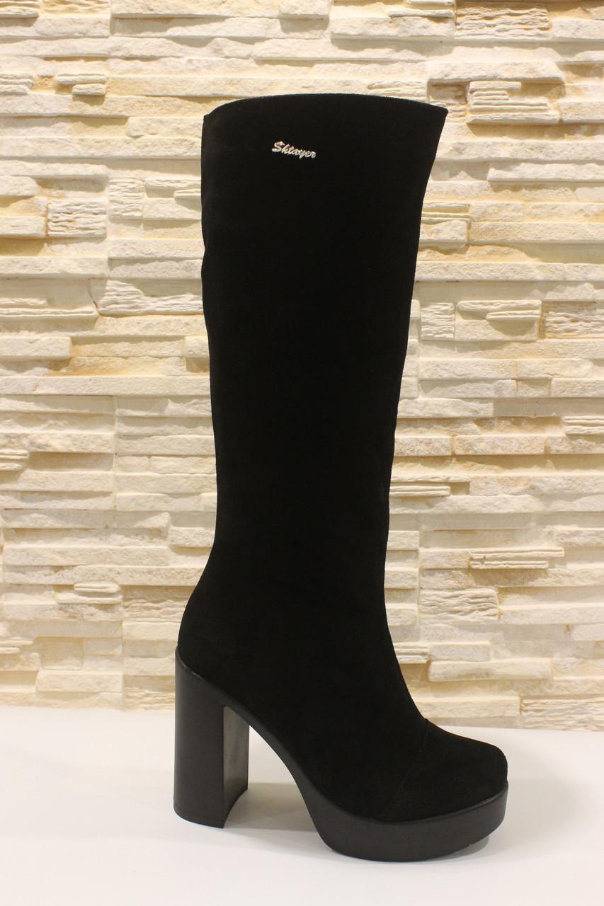 Сапоги женские черные на каблуке натуральная замша Д676