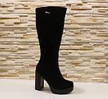 Сапоги женские черные на каблуке натуральная замша Д676, фото 2