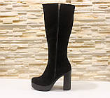 Сапоги женские черные на каблуке натуральная замша Д676, фото 3