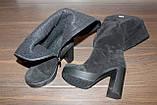 Сапоги женские черные на каблуке натуральная замша Д676, фото 4