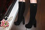 Сапоги женские черные на каблуке натуральная замша Д676, фото 6